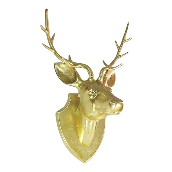 Head Deer  Gold   Aluminium 34x24cm Mars & More
