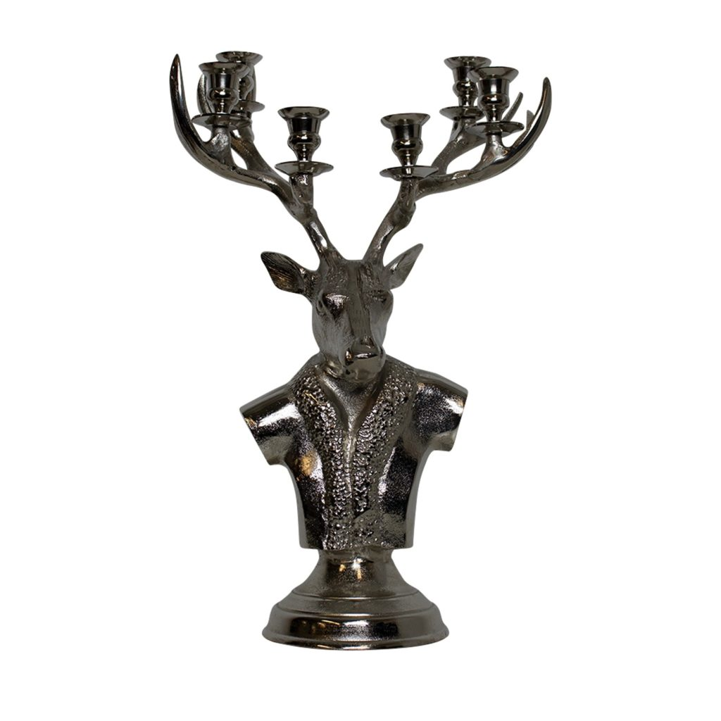 Candlestick Deer  Colored   Aluminium 22x33x57cm Mars & More