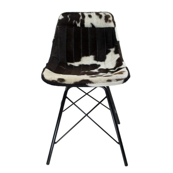 Chair Cow  Black & White   Leather 50x53x79cm Mars & More