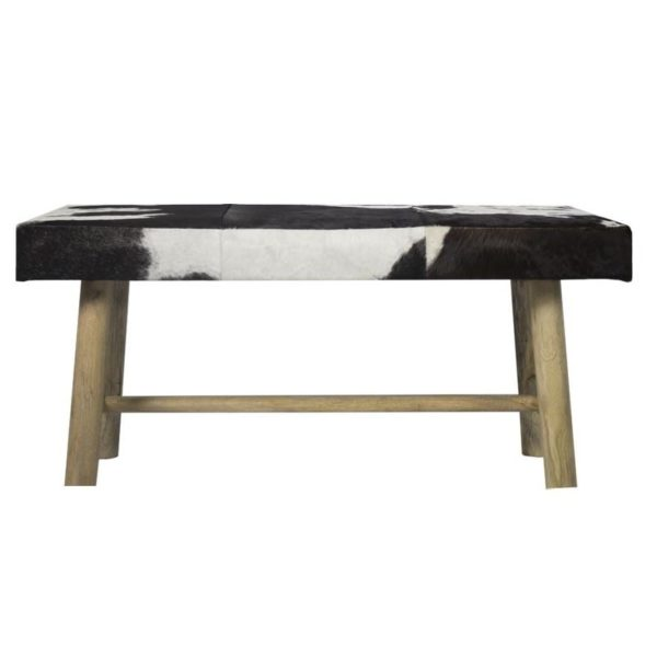 Bench Cow  Black   Leather 95x40x45cm Mars & More