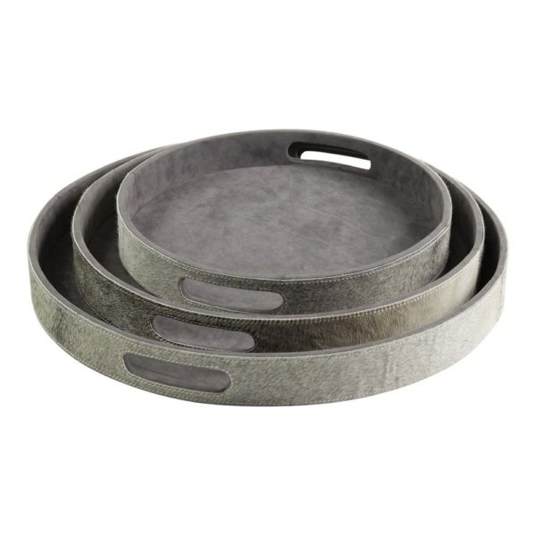 Serving tray Cow  Gray  Round MDF 46