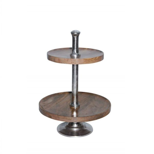 Serving stand   Wood  Round Aluminium 1x1x1 Mars & More