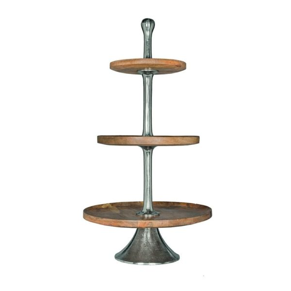 Serving stand   Wood  Round Aluminium 50x50x100cm Mars & More