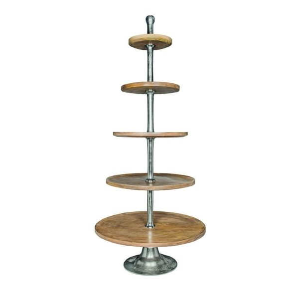 Serving stand   Wood  Round Aluminium 75x75x170cm Mars & More