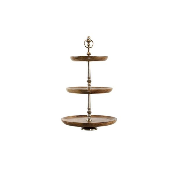Serving stand   Wood  Round Aluminium 30x30x48cm Mars & More