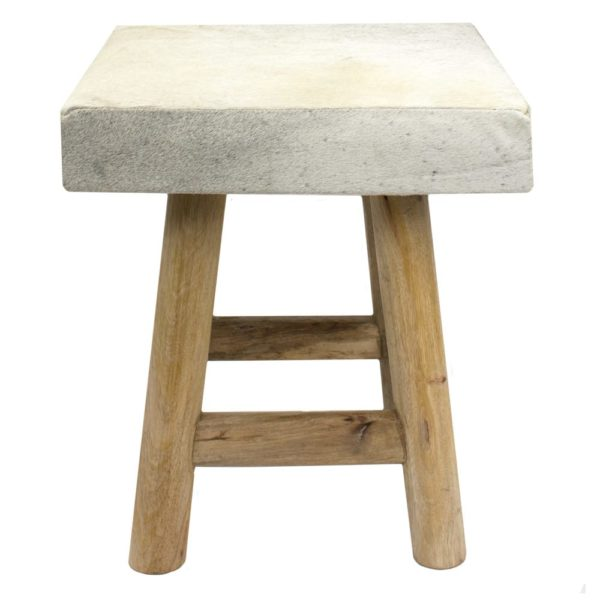 Stool Cow  Gray  Square Leather 35x35x35cm Mars & More