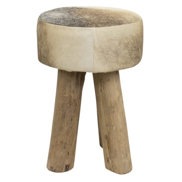 Stool Cow  Gray  Round Leather 30x30x45cm Mars & More