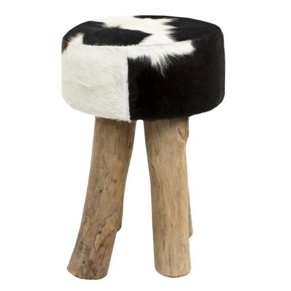Stool Cow  Black  Round Leather 30x30x45cm Mars & More