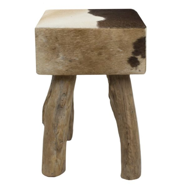 Stool Cow  Brown  Square Leather 30x30x45cm Mars & More