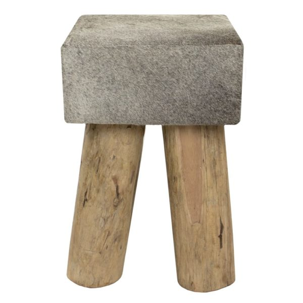 Stool Cow  Gray  Square Leather 30x30x45cm Mars & More