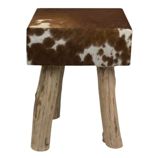 Pouffe Cow  Brown  Square Leather 30x30x45cm Mars & More