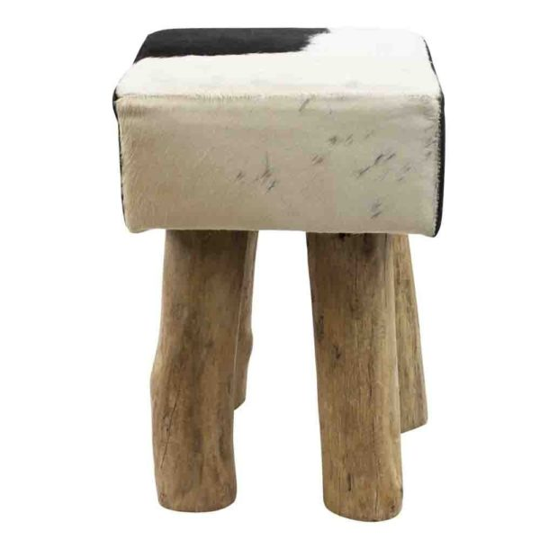 Stool Cow  Black  Square Leather 30x30x45cm Mars & More
