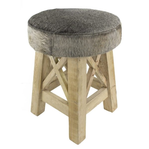 Stool Cow  Gray  Round Leather 35x35x45cm Mars & More
