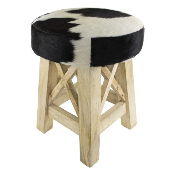 Stool Cow  Black & White  Round Leather 35x35x45cm Mars & More