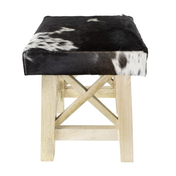 Stool Cow  Black & White  Square Leather 35x35x35cm Mars & More