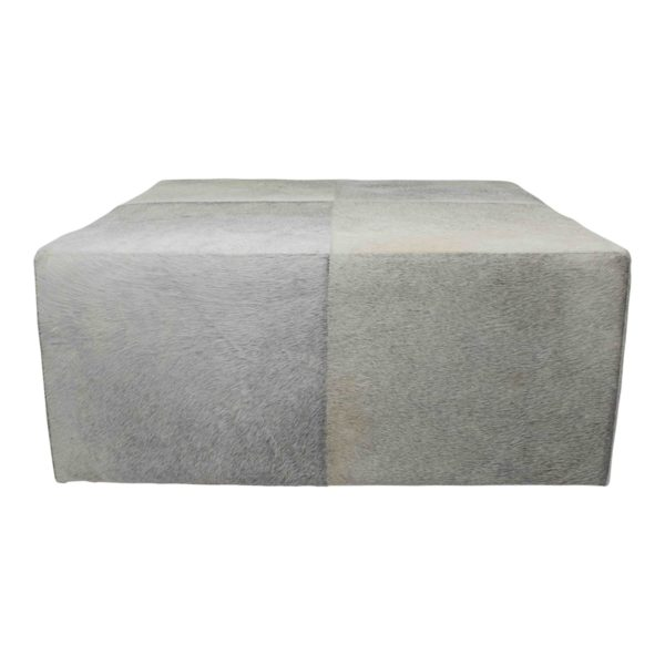 Pouffe Cow  Gray   Leather 80x80x35cm Mars & More
