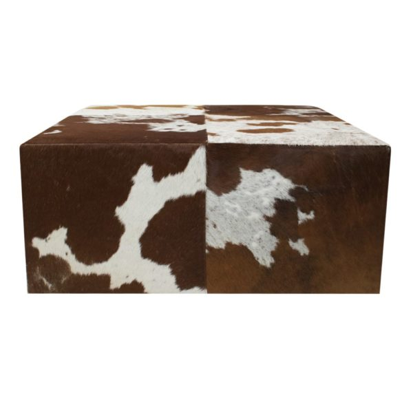 Pouffe Cow  Brown   Leather 80x80x35cm Mars & More