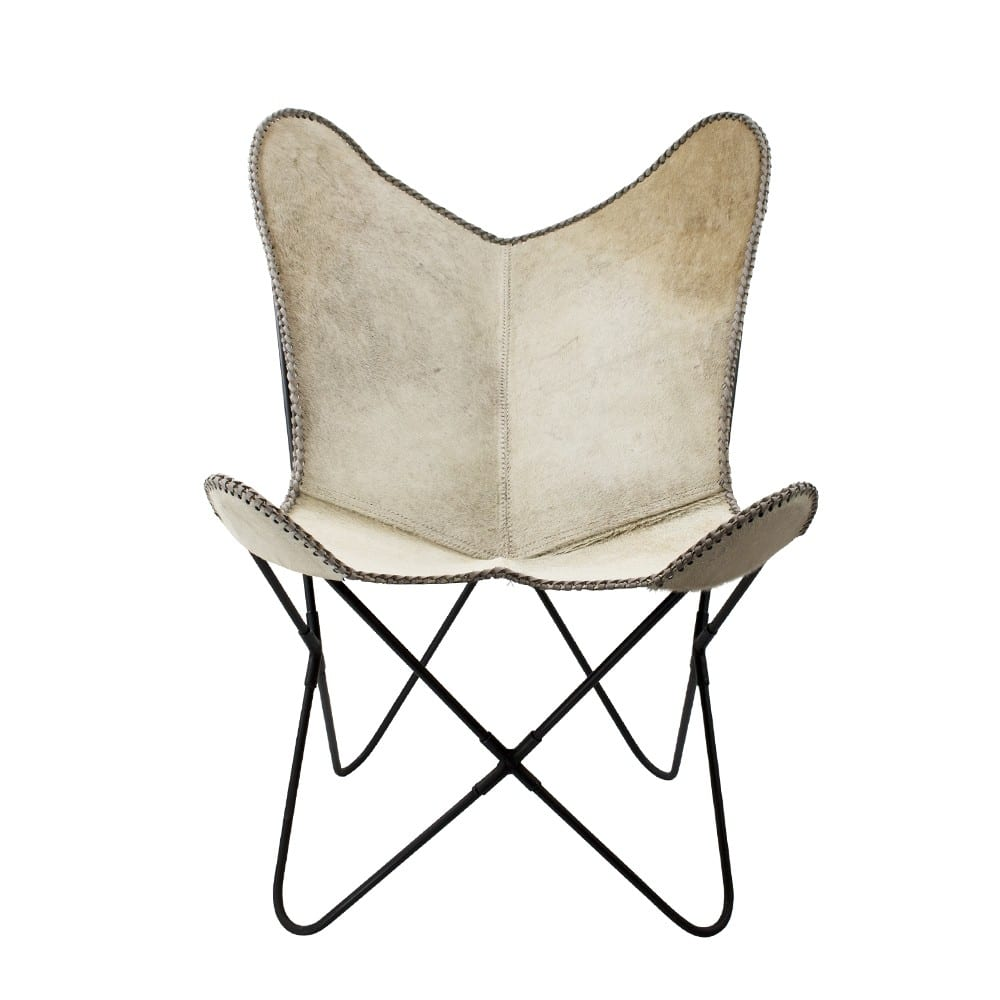 Chair Cow  Gray   Leather 80x75x90cm Mars & More