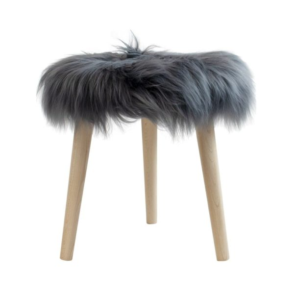 Fur Sheep  Dark  Round Wood Ø36x45cm Mars & More
