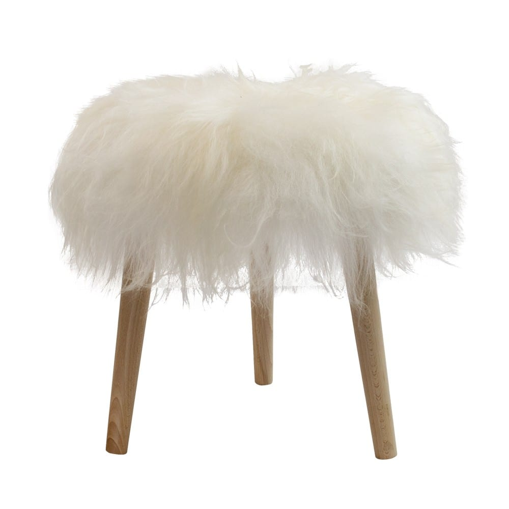 Fur   White  Round Wood Ø36x45cm Mars & More