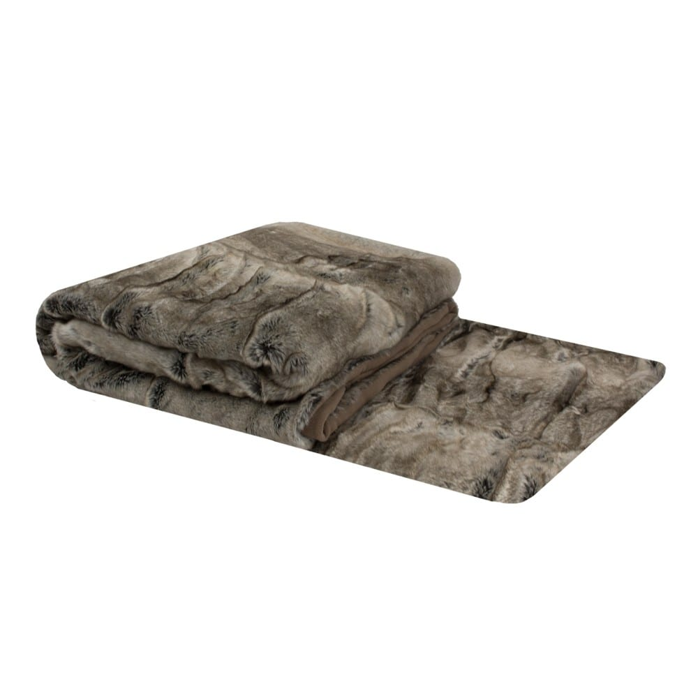 Throw Wolf  Gray   Polyester 130x170x3cm Mars & More