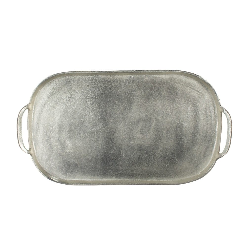 Serving tray   White  Oval Aluminium 52x30 Mars & More