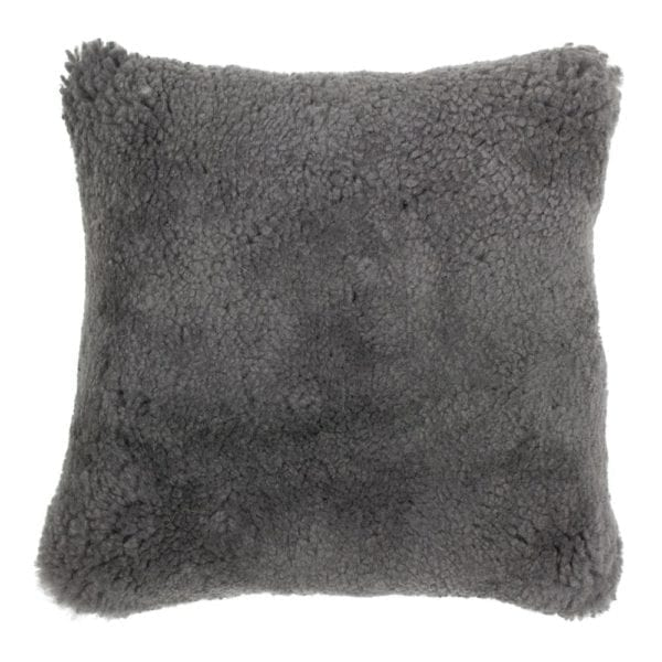 Cushion   Gray   Leather 40x40x15cm Mars & More