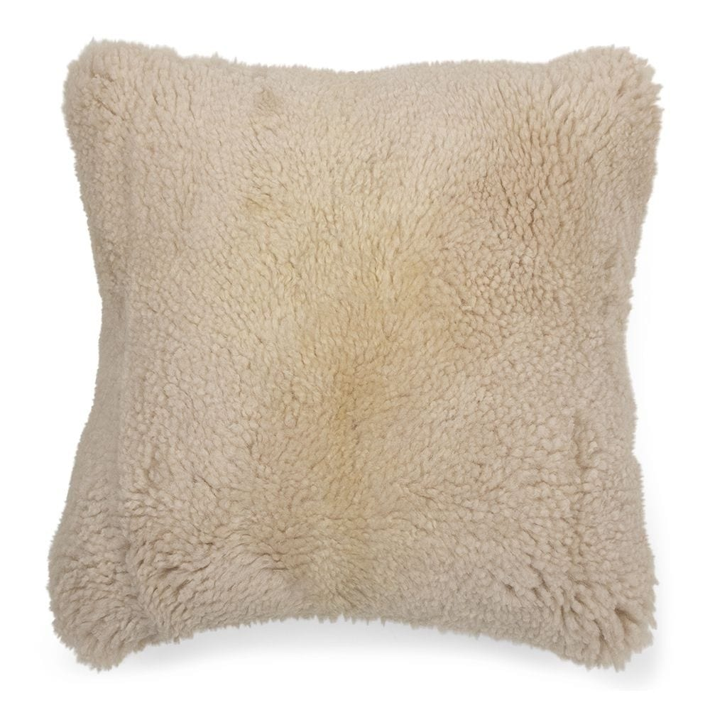 Cushion   White   Leather 40x40x15cm Mars & More