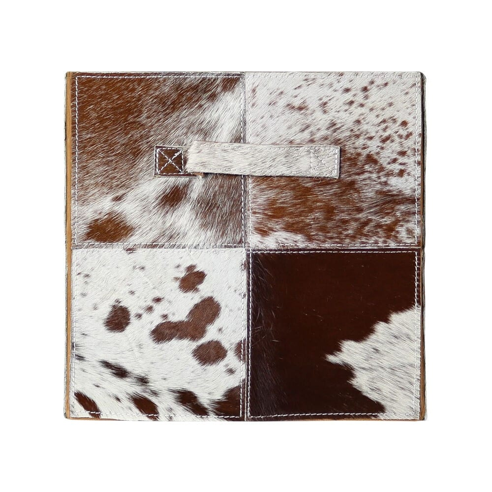 Basket Cow  Brown   Leather 30x30x30cm Mars & More