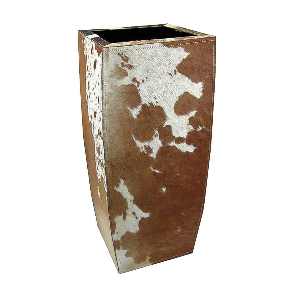 Planter Cow  Brown   Leather 27x27x60cm Mars & More