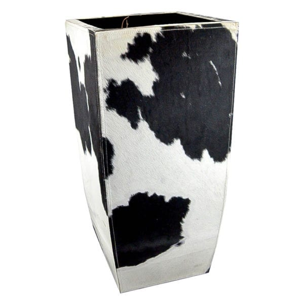 Planter Cow  Black   Leather 35x35x75 Mars & More