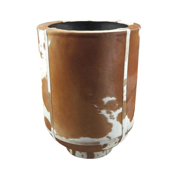 Planter Cow  Brown   Leather 35x35x46cm Mars & More