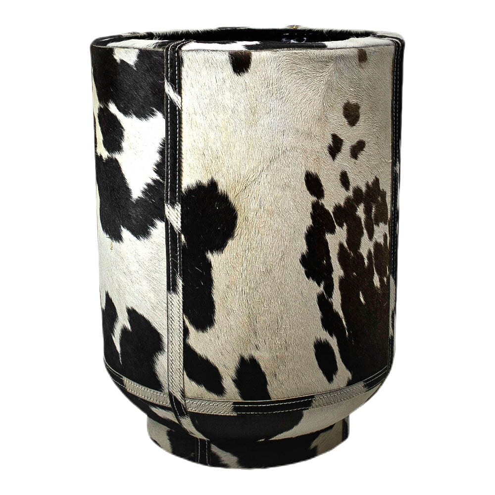 Planter Cow  Black and White   Leather 35x35x46cm Mars & More