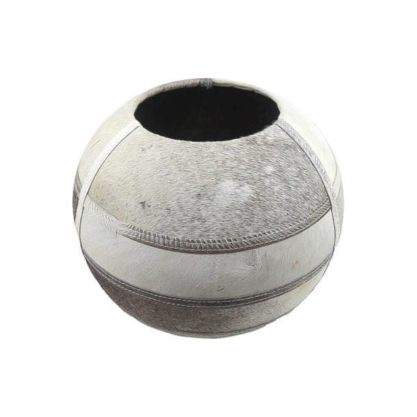 Vase Cow  Gray  Round Leather 35x35x35cm Mars & More